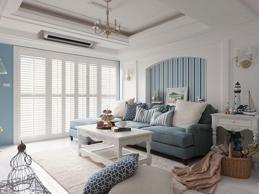 地中海风格客厅沙发背景墙装修样板间
