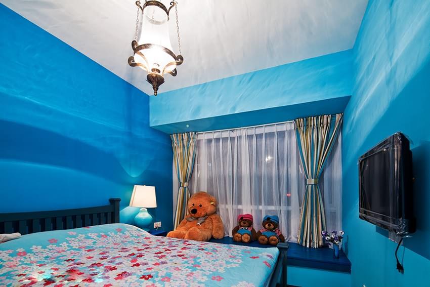 地中海风格卧室卧室背景墙装修案例图