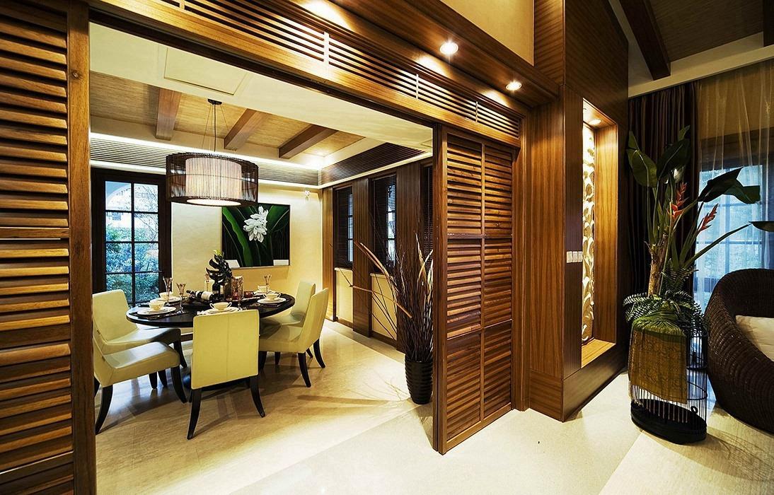东南亚风格餐厅背景墙设计图