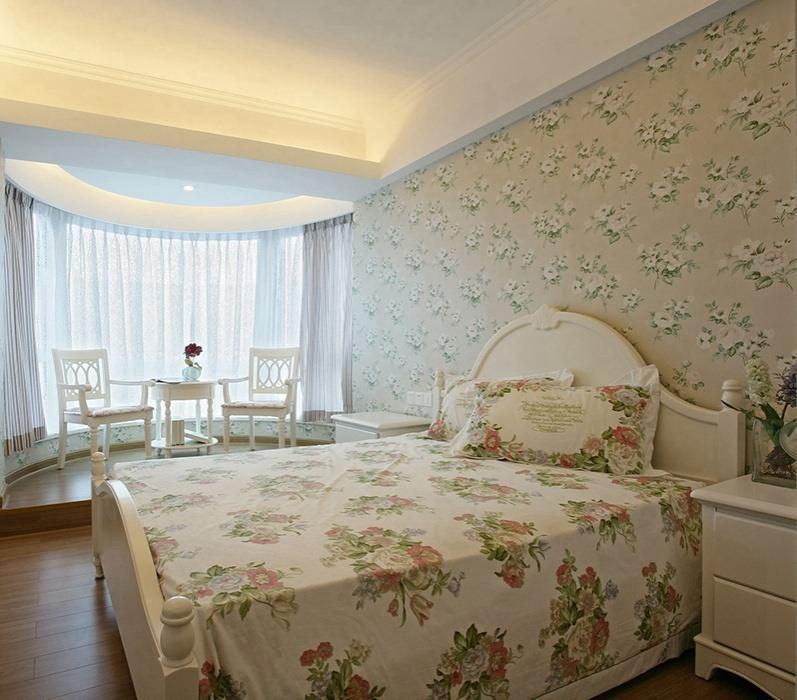 田园风格卧室背景墙装修样板间