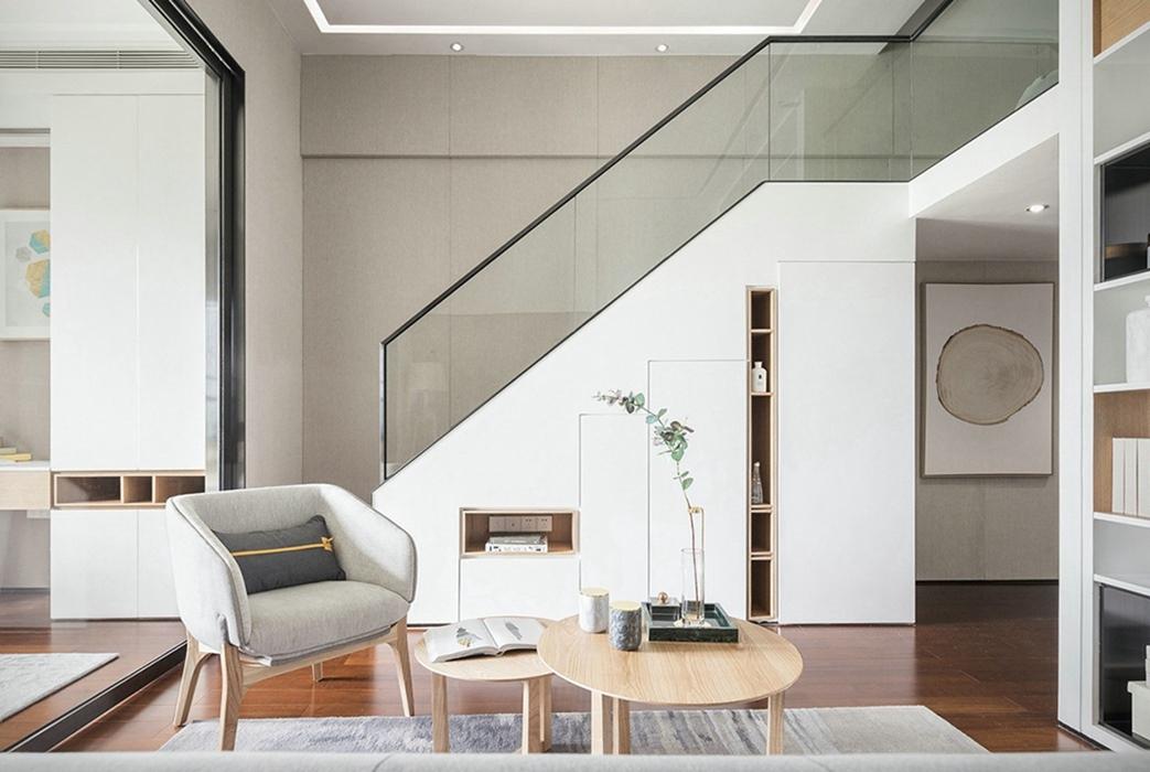 现代简约风格客厅楼梯装修效果图