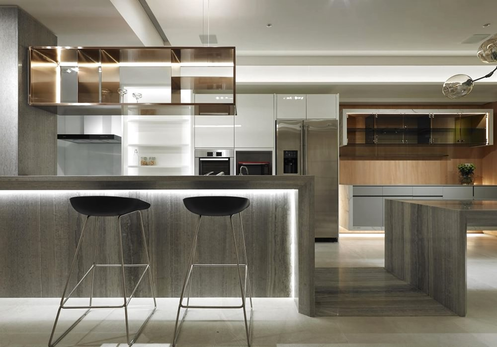 三居室厨房吧台装修效果图