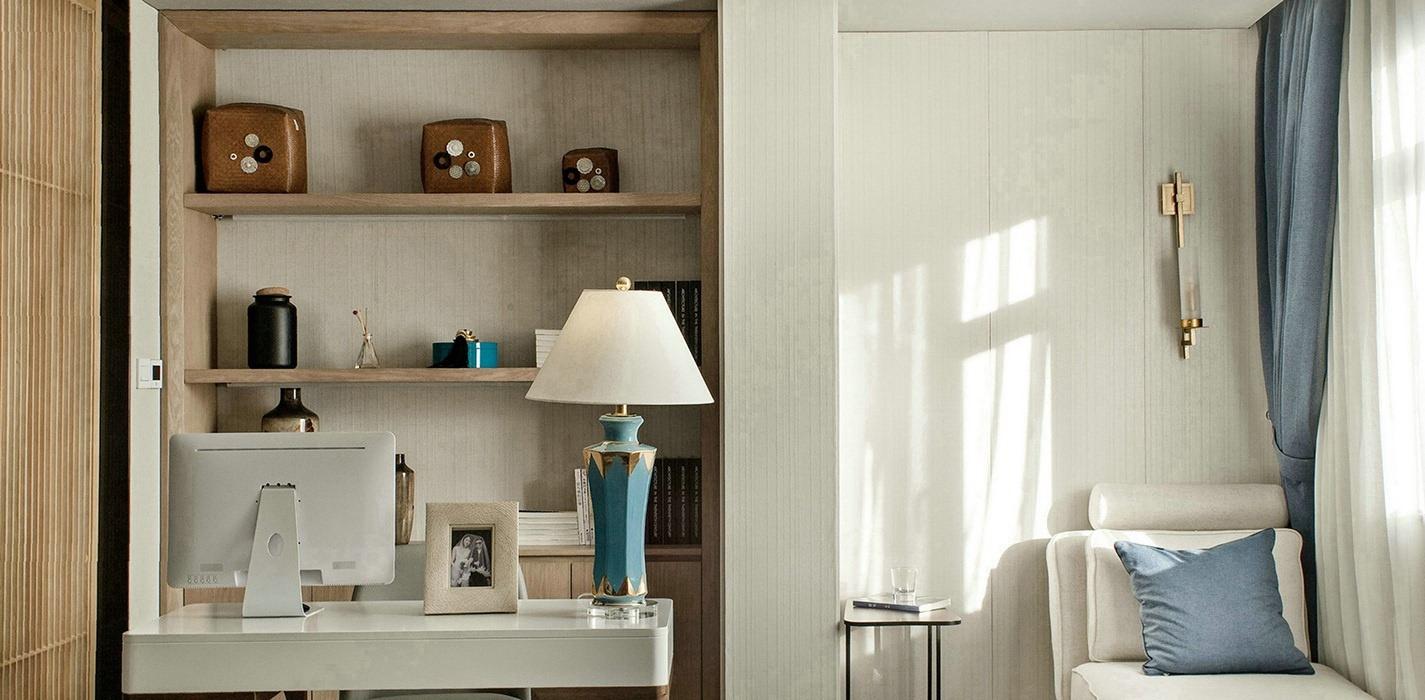 新中式风格书房书柜/架室内样板间