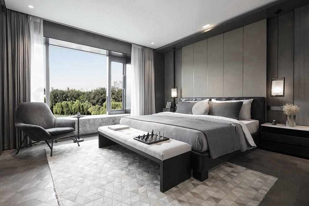 现代简约风格卧室背景墙装潢设计