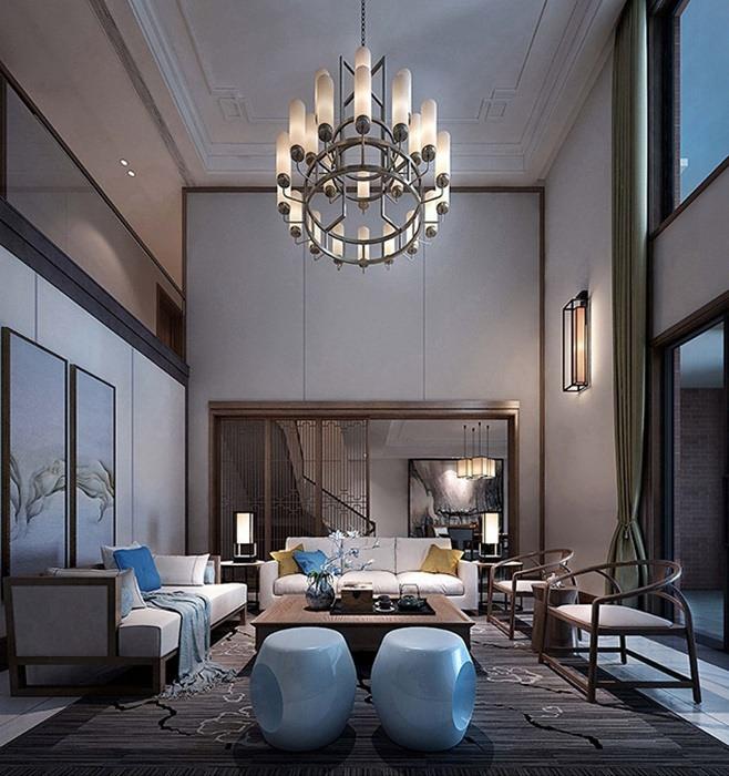 新中式风格客厅灯饰/照明装修图