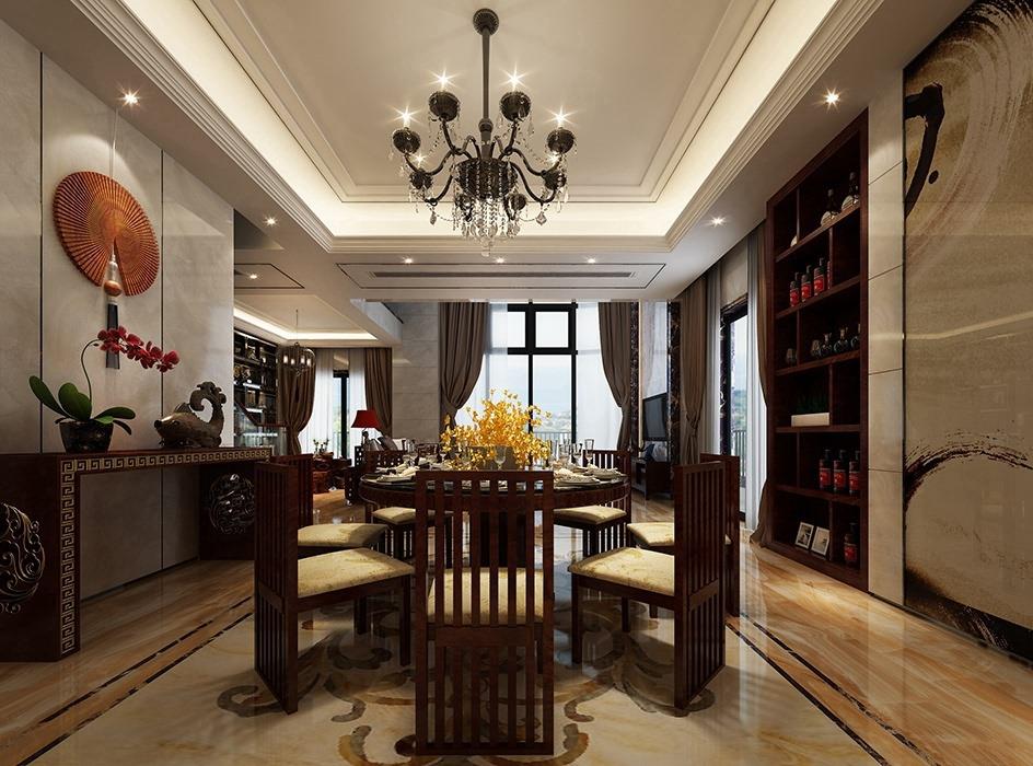 新中式风格餐厅灯饰/照明效果图