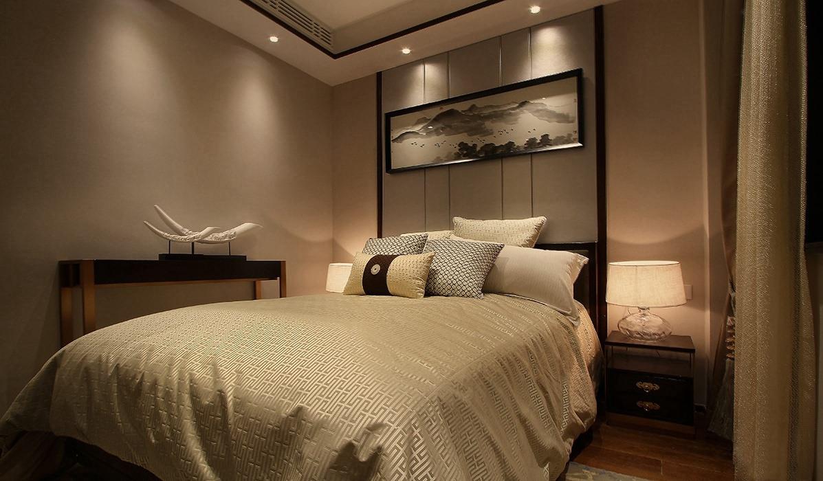 新中式风格卧室背景墙装修案例
