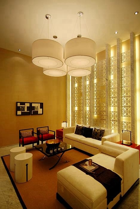 新中式风格客厅灯饰/照明实例