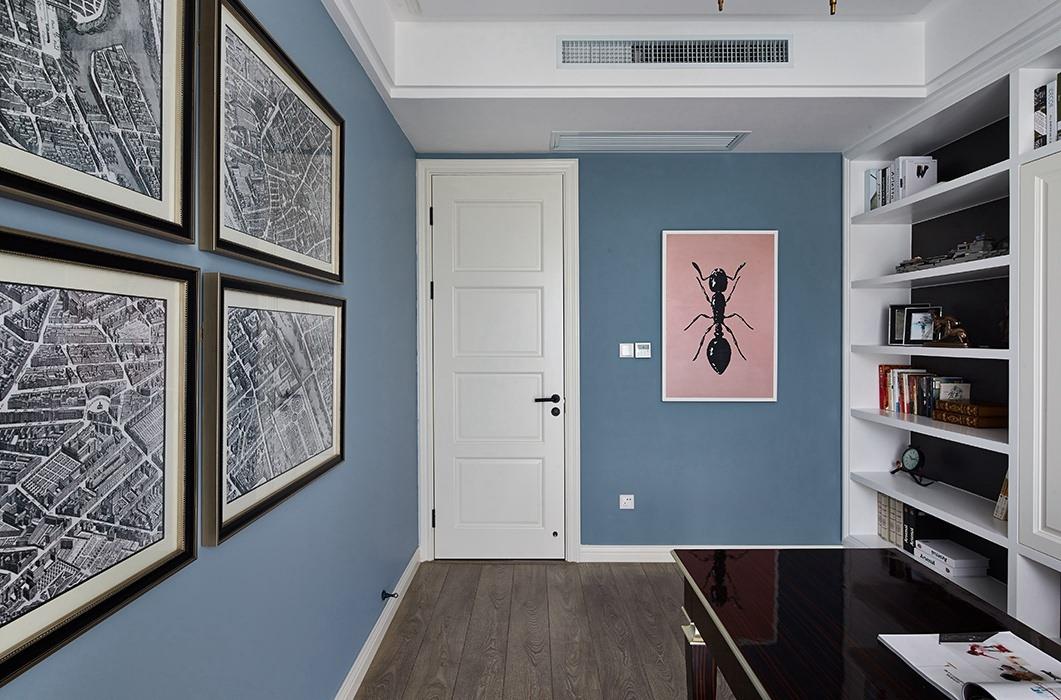 欧式风格书房背景墙室内效果图