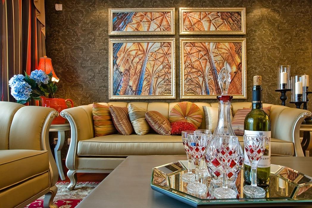 欧式风格客厅背景墙装修样板间