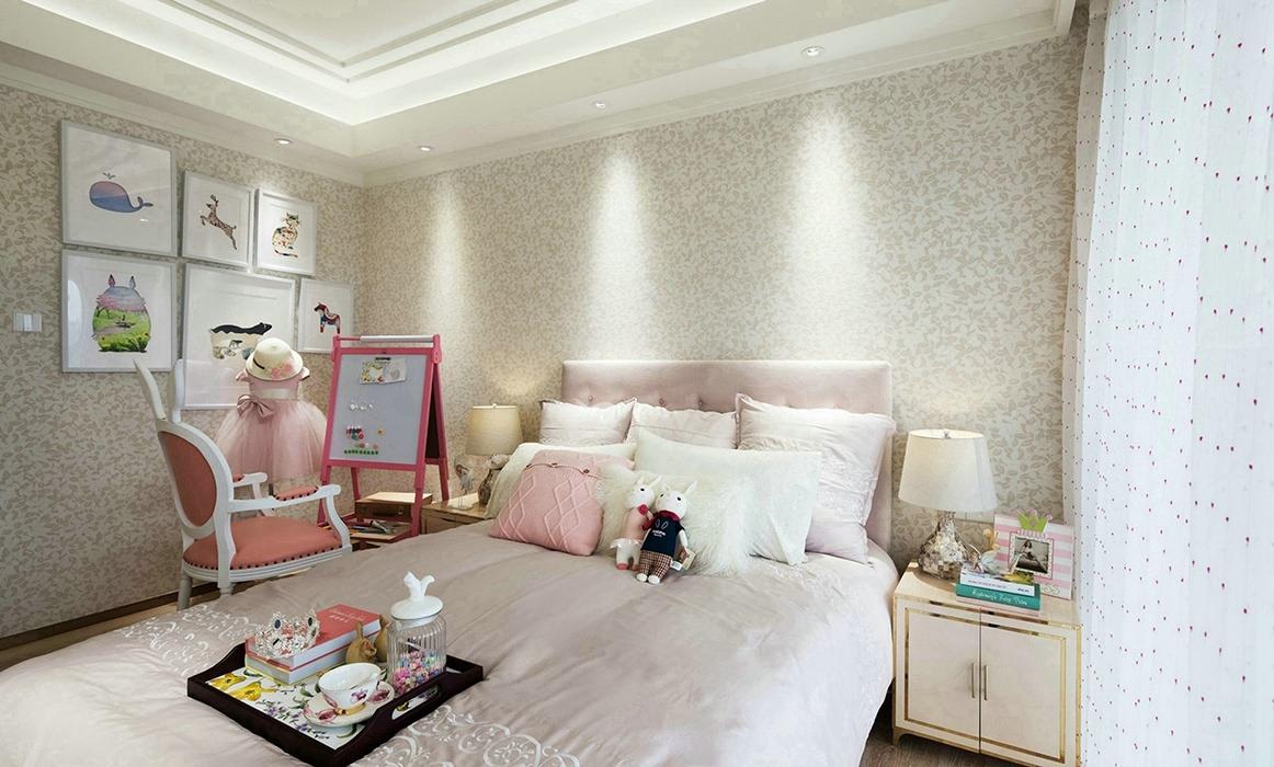 四居室卧室背景墙家装样板间